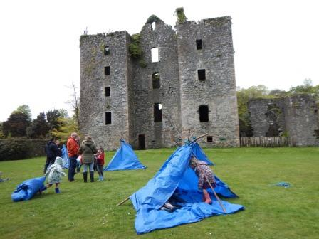 building a tepee at ruins